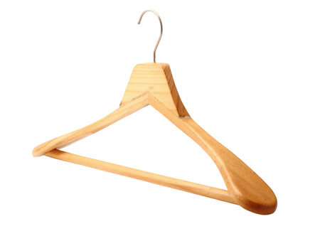 Wooden hanger isolated on white background, clipping path.