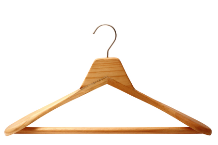 Gancio di legno isolato su sfondo bianco
