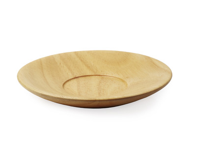 Empty wooden plate isolated on a white background, clipping path. Stock Photo