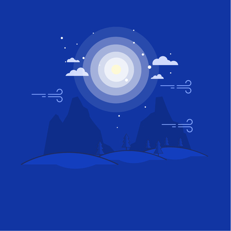 layers levels: Outline mountain at night landscape art