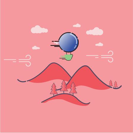 Mountain landscape outline art for kids
