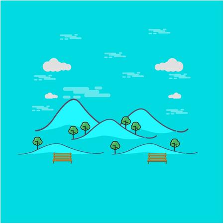 Beautiful mountain landscape outline art illustration