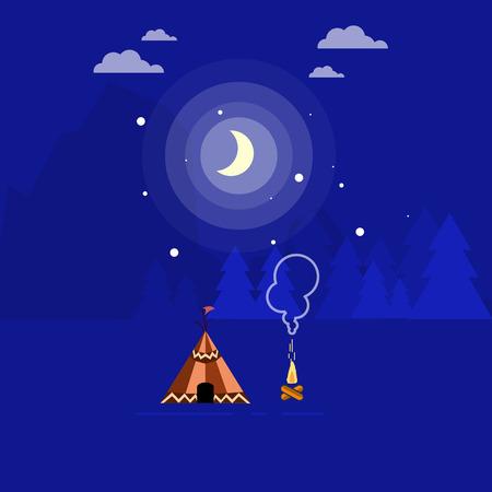 river rock: Illustration of campfire and tent landscape outline Illustration