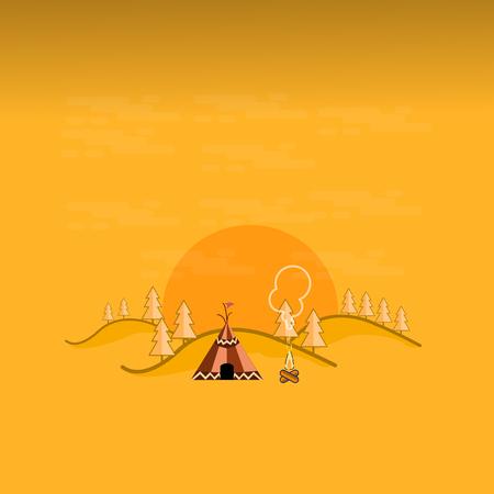 river rock: Tent in the mountain landscape outline art illustration Illustration