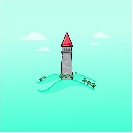 Cartoon fairy tale castle outline art illustration