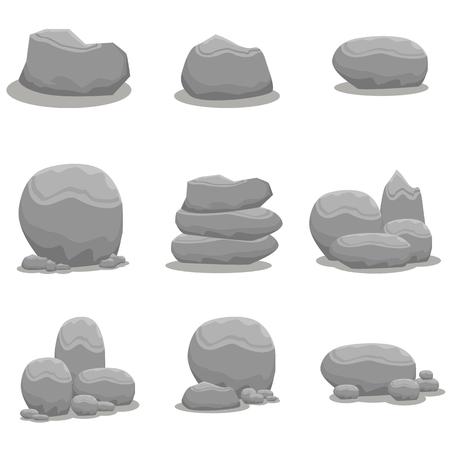 rock stone: Rock stone set element art collection Illustration