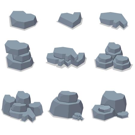 cobble: Element stone set of art illustration Illustration