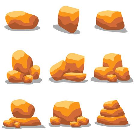 cobble: Illustration of golden rock set  art
