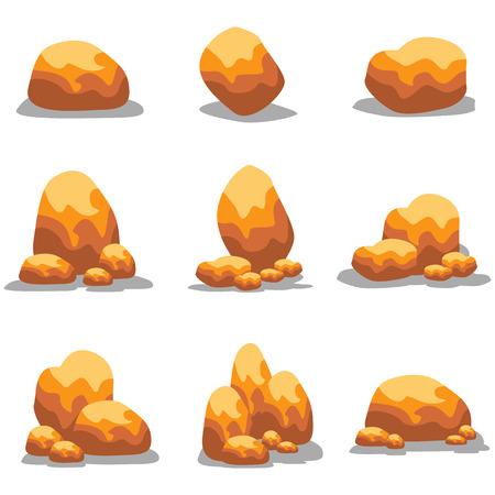 Goldn stone object set  illustration collection 向量圖像