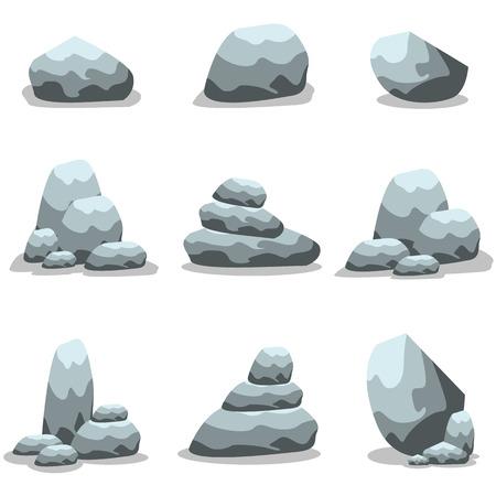 Steine ??und Felsen im Cartoon-Stil Illustration