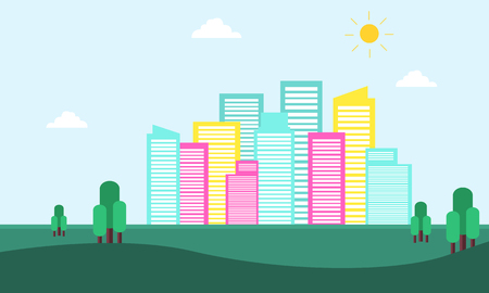 city building: City building scenery of silhouette vector flat Illustration