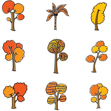 Doodle of orange tree set vector illustration Illustration