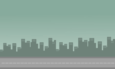 congested: Silhouette of congested city with building vector illustration