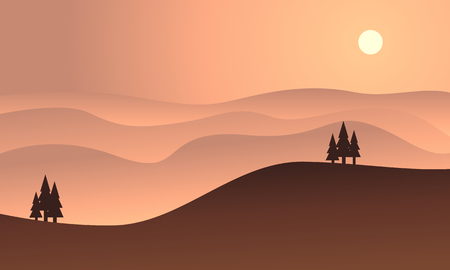 ridges: Silhouette of hill at sunset vector flat illustration