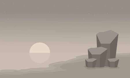 ridges: Landscape beach and rock of silhouette vector illustration