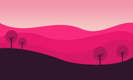 ridges: Silhouette of hill with pink backgrounds vector illustration