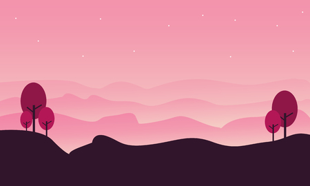 ridges: Silhouette of hill landscape with pink backgrounds illustration