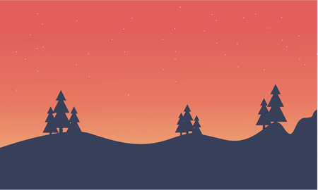 Silhouette of hill and spruce scenery vector illustration Banco de Imagens - 63934343