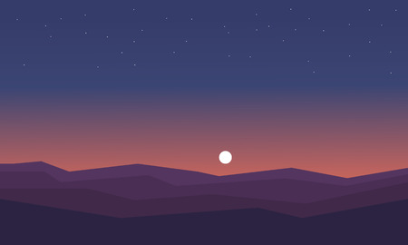 ridges: Silhouette of hill at night vector illustration