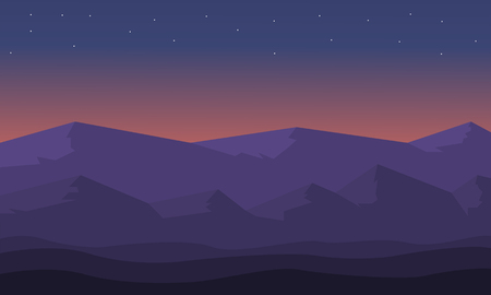 At night hills landscape of silhouette vector illustration