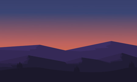ridges: Silhouette of mountain and hill scenery illustration Illustration