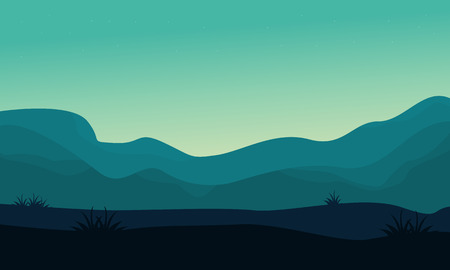 ridges: Silhouette of hill and fog scenery vector illustration