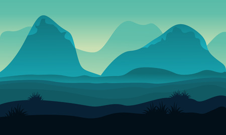 ridges: Landscape hight hill of silhouette vector illustration