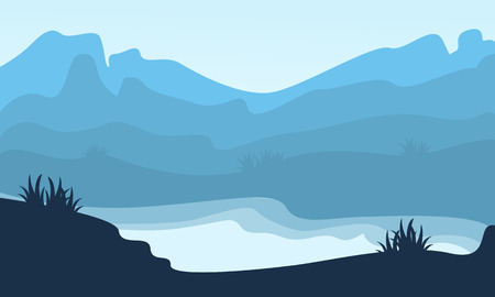 ridges: Silhouette of hill and lake scenery vector illustration