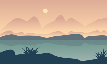 ridges: Landscape hill and river of silhouette vector illustration Illustration