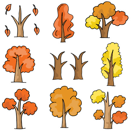 Set of vector trees doodle
