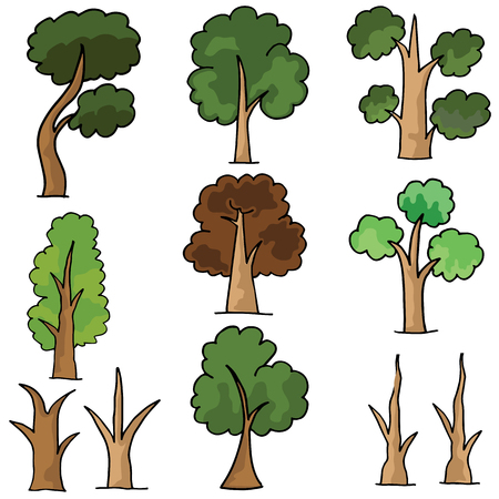 Set of tree style doodles vector illustration