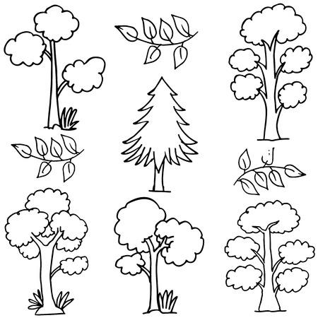 mess: Hand draw of tree set doodles vector art
