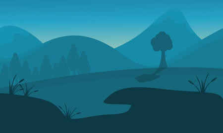hay field: Silhouette of mountain tree and lake landscape Illustration