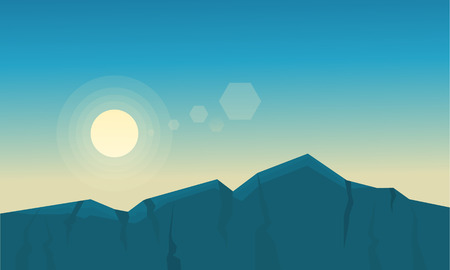 hay field: At sunrise mountain scenery of silhouette vector fllat Illustration