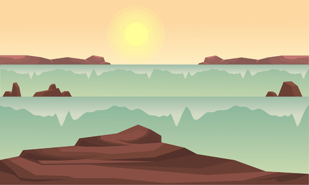river rock: Silhouette of rock and river at sunrise vector illustration