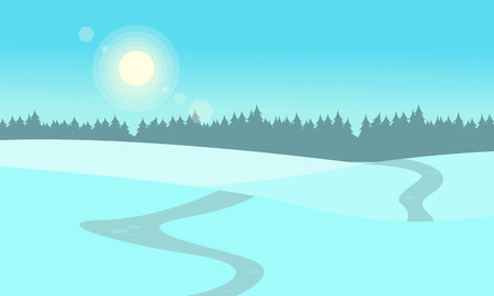 At winter hill landscape vector flat illustration