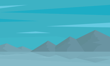 rural road: Silhouette of mountain and reflection in water vector illustration Illustration