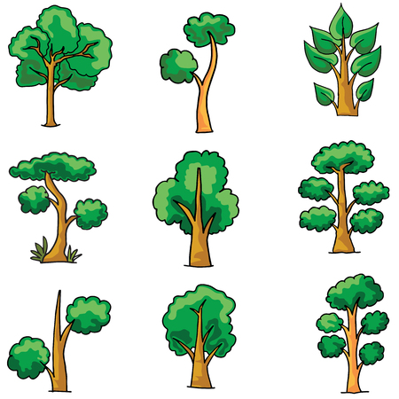 Tree set on doodles vector