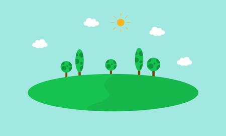 green road: Simple hill landscape vector flat illustration collection