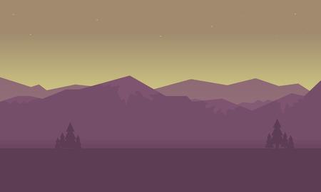 sunrise mountain: At sunrise mountain landscape of silhouettes vetcor illustration