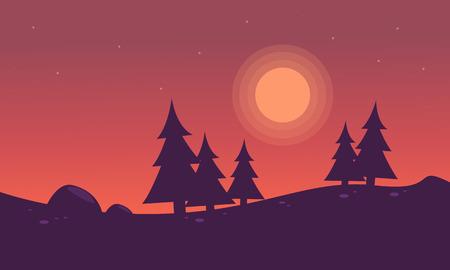Silhouette of Spruce in hills landscape vector art Illustration
