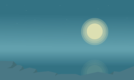 Silhouette of beach landscape and moon vector illustration