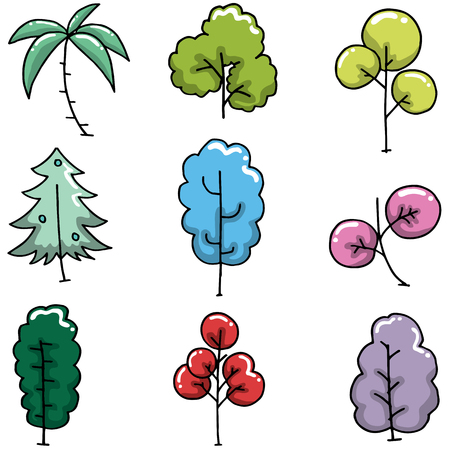 Doodle of simple tree collection vector art illustration Illustration