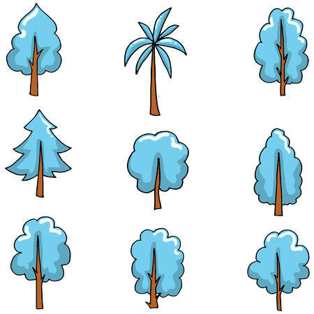 Blue tree style on doodles vector art