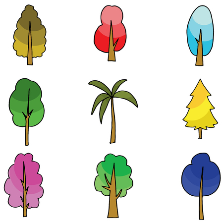 Vector flat of tree various doodles illustration Illustration