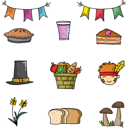 genus: Doodle of object thanksgiving set vector illustration Illustration