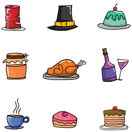 genus: Doodle of thanksgiving set element vector illustration