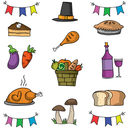genus: Doodle of thanksgiving object set