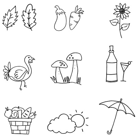 genus: Doodle of thanksgiving set collection vector art