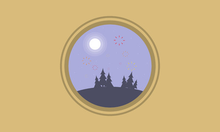At night hill with firework landscape silhouettes vector art